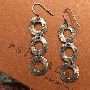 Vintage Silpada Sterling Triple Ring Earrings